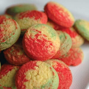 A close up of Ukrop's famous Rainbow Cookies on a plate.